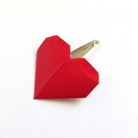 Barette coeur origami