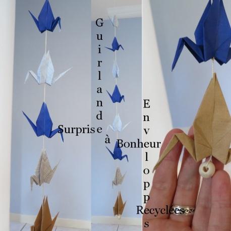Guirlande surprise grues origami en papier recyclées