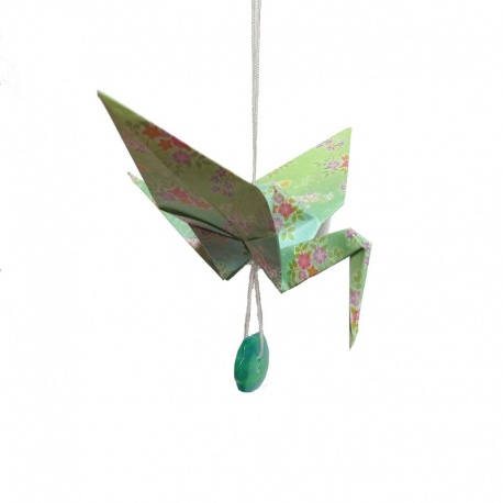 """Pendouille Grue origami 'tons verts"""""""