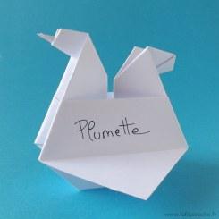 Marque-place Poule en origami