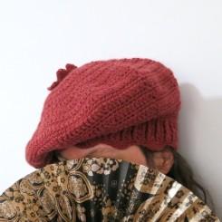 Béret femme en laine couleur terre cuite