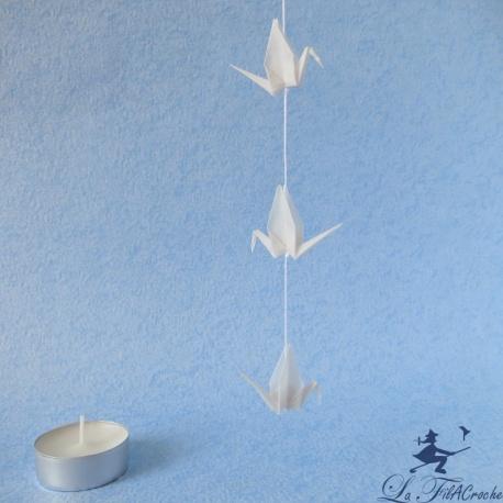 Guirlande de mini grues en origami en papier calque