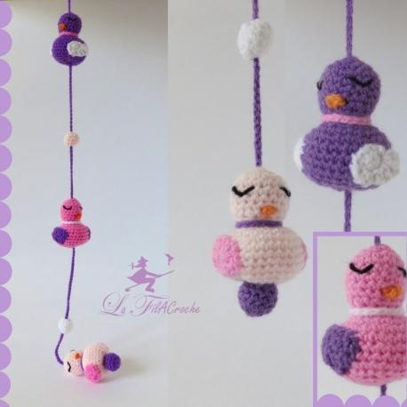 Guirlande d'oiseaux au crochet: Rosalie