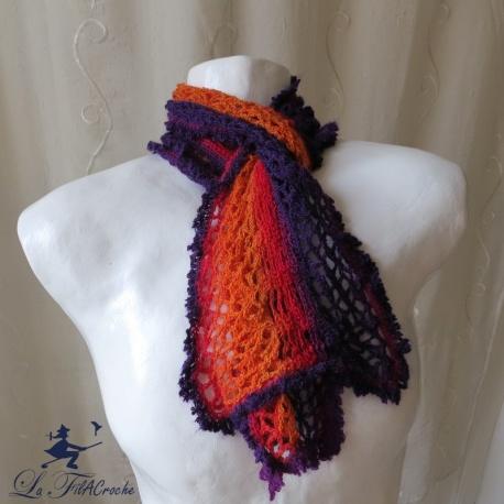 Echarpe femme au crochet multicolore