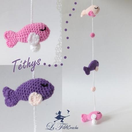 Guirlande pour bébé au crochet poissons: Téthys