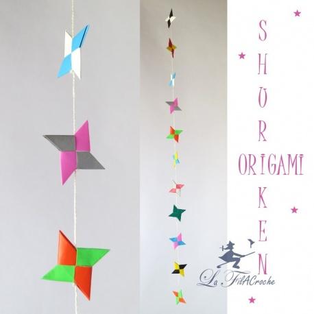 Guirlande d'étoiles en origami: Shurikens