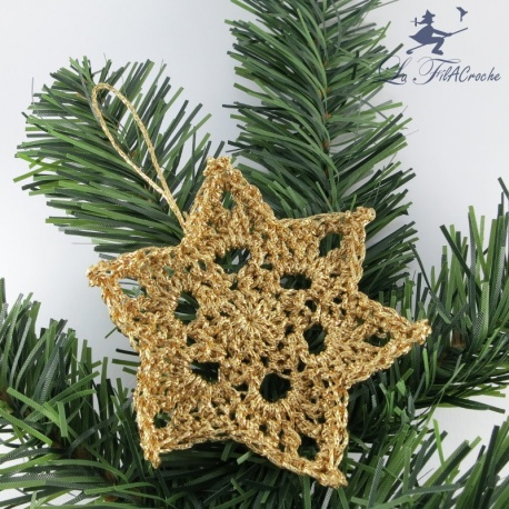 Etoile de Noël dorée au crochet