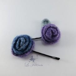 Barrettes fleur en laine feutrée