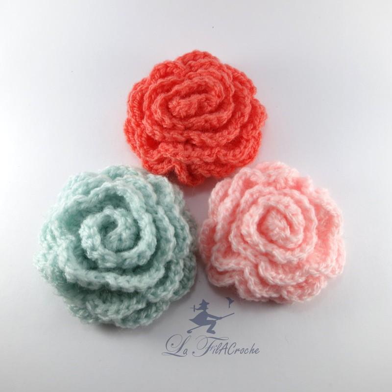 3 fleurs au crochet aimant es. Black Bedroom Furniture Sets. Home Design Ideas