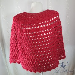 Poncho Cape rouge au crochet