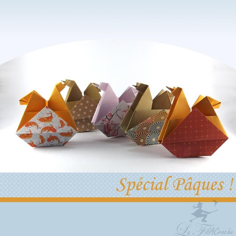 Poules de p ques faites la main en origami - Poules de paques ...