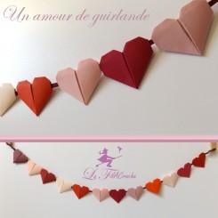 Guirlande de coeurs en origami