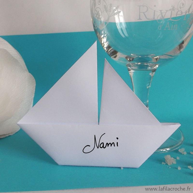 Marque Place Voilier Origami Fait Main Pour Mariages Theme Marin