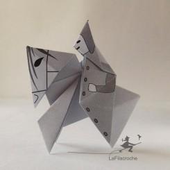 Cheval et cavalier pliage en papier