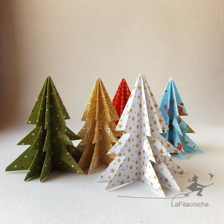 Sapins motifs Noël en origami