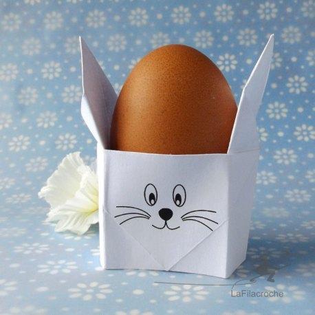Coquetier lapin blanc en origami