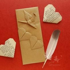Marque page grue et coeurs en origami