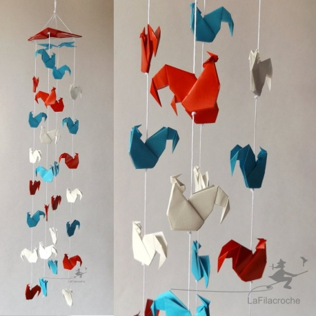 Mobile coq origami bleu blanc rouge