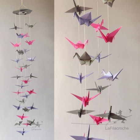 Mobile grues origami girly rose lilas gris