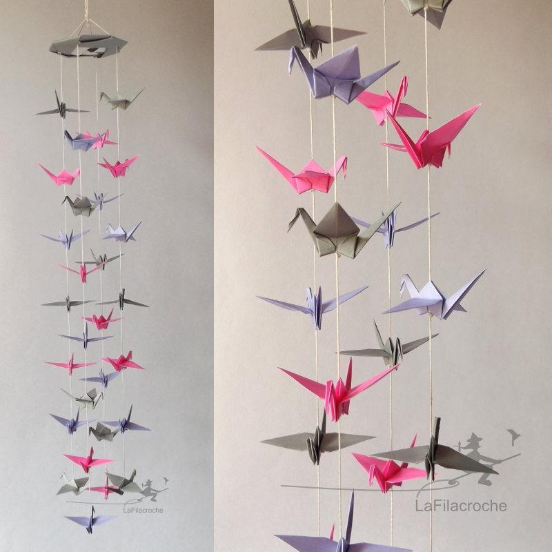 mobile origami grue cam lia d coration maison id e cadeau fait main. Black Bedroom Furniture Sets. Home Design Ideas