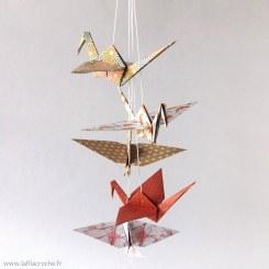 Mobile cinq grues origami motifs japonais