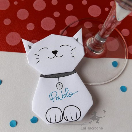 Marque-place Chat origami