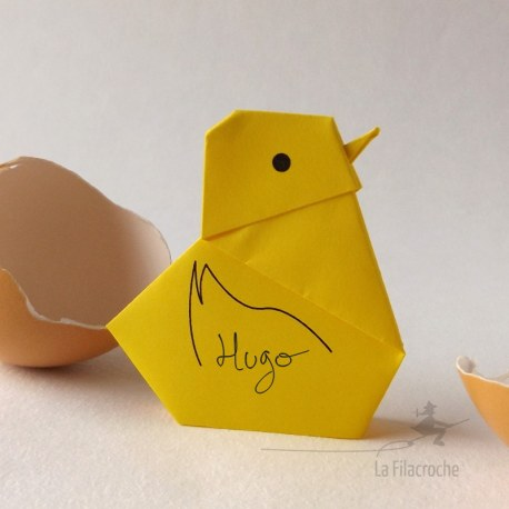 marque-place poussin origami
