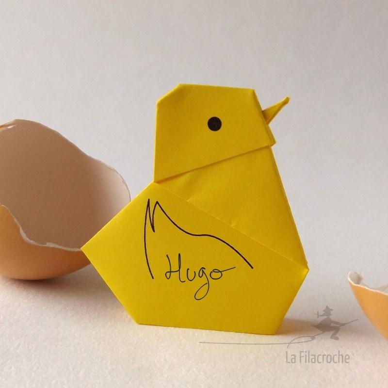 marque place poussin en origami pour f tes de p ques et d co cr atives. Black Bedroom Furniture Sets. Home Design Ideas
