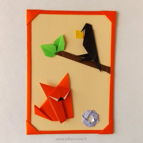 Carte le corbeau et le renard en origami