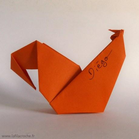 Marque-place coq origami