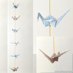 Guirlande de grues en papier millimetré