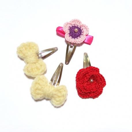 4 barrettes cheveux fleurs et noeuds