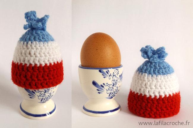 Cache-œuf à la coque bonnet bleu blanc rouge