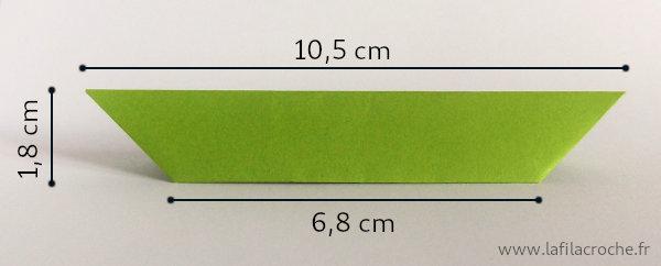 Dimensions du marque-place 7 plis origami