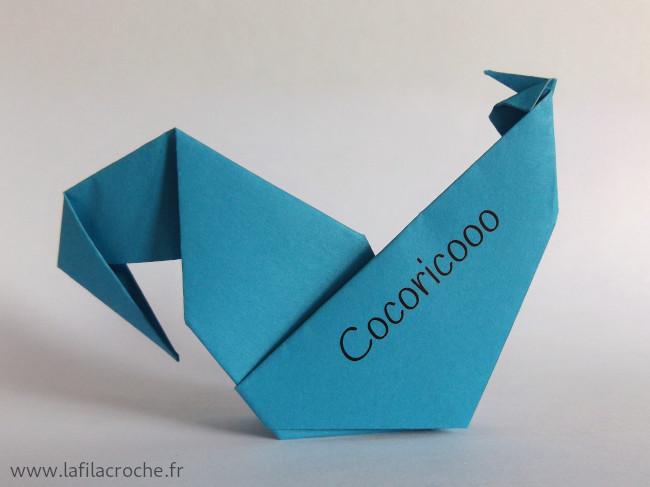 Marque-place coq imprimé prénom