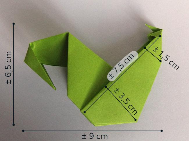Mesures marque-place coq origami