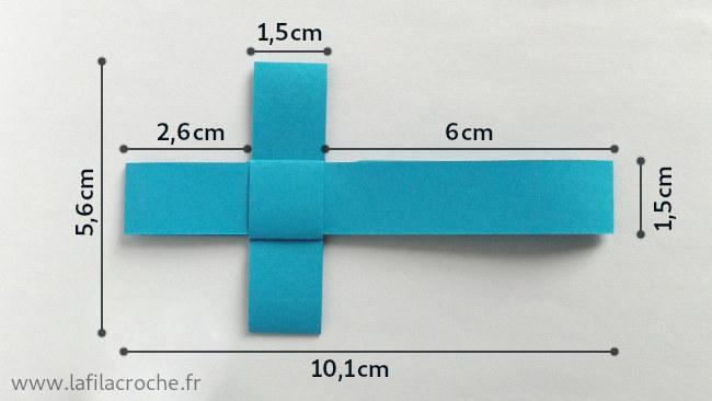 Dimensions du marque-place croix en origami