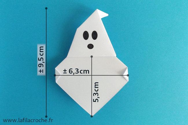 Dimensions du marque-place fantôme origami