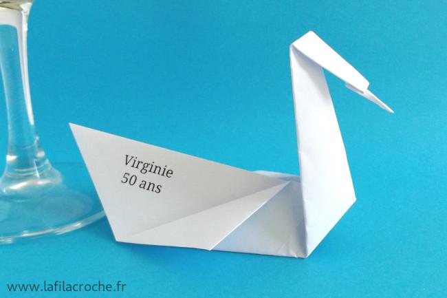 Verso marque-place cygne imprimé