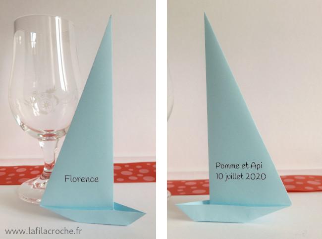 Marque-place grande voile origami avec impression prénom