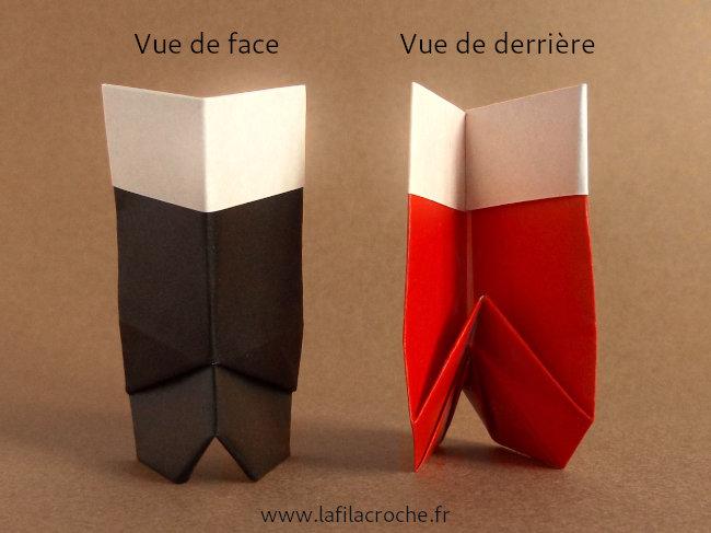 Vue devant derrière botte origami