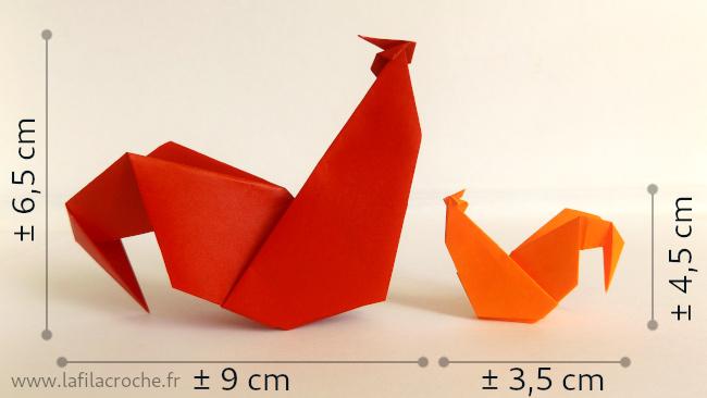Dimensions des coqs origami
