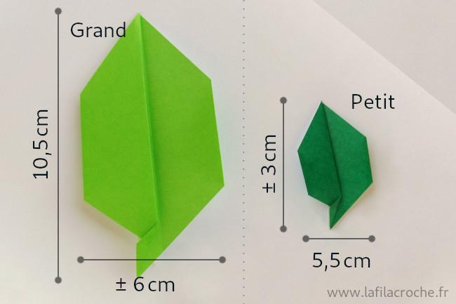 Dimensions feuillage simple en origam