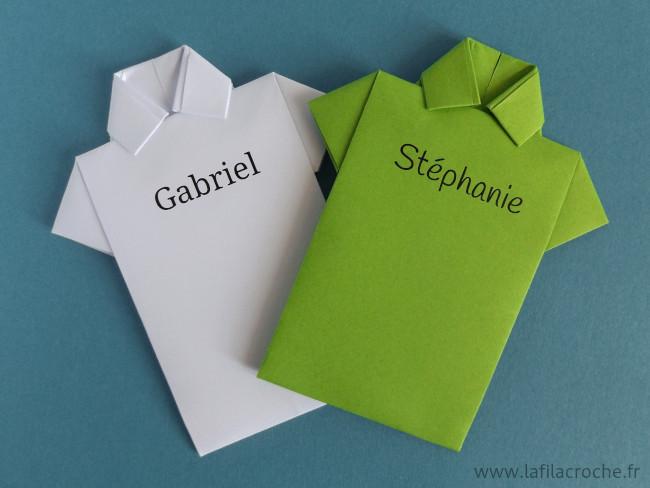 Marque-places chemises imprimées prénoms