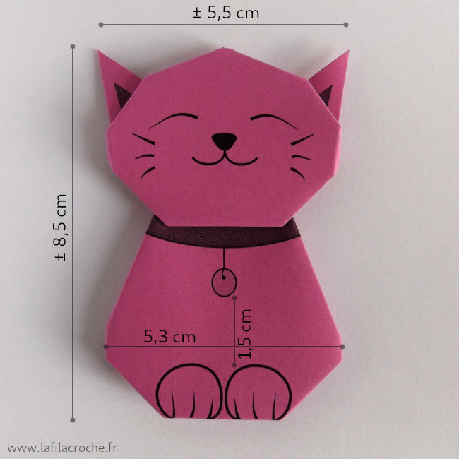 Dimensions du marque-place chat origami