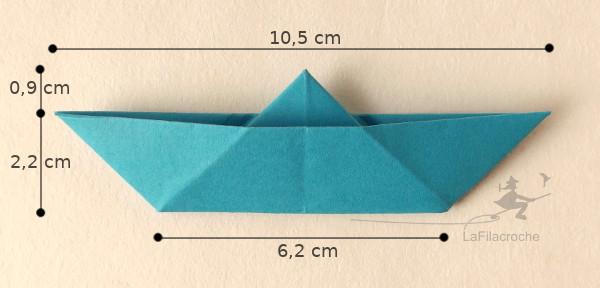 Dimensions marque-place bateau origami