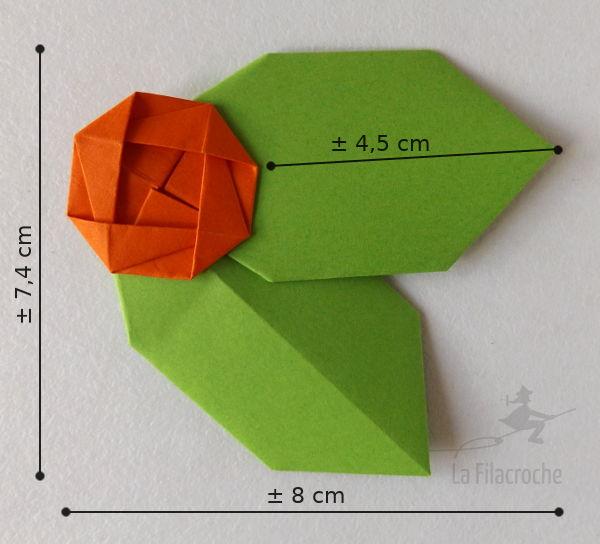 Dimensions du porte-nom houx en origami