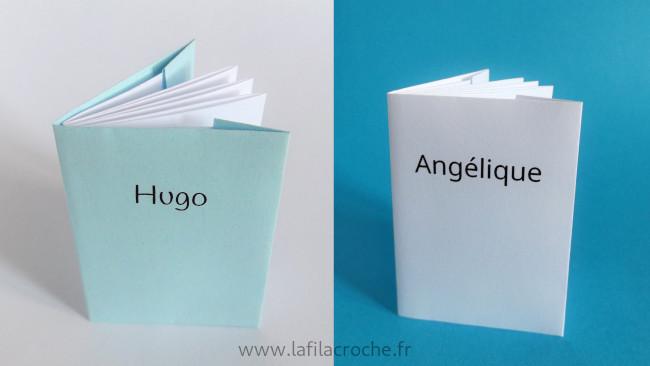 Marque-places minii livre avec prénoms imprimés