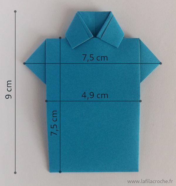 Mesures du marque-place chemise origami
