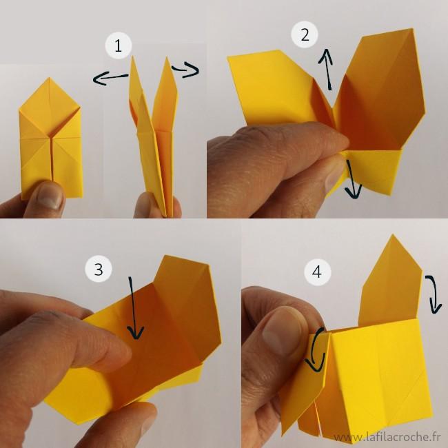 Mise en volume du sanbo origami